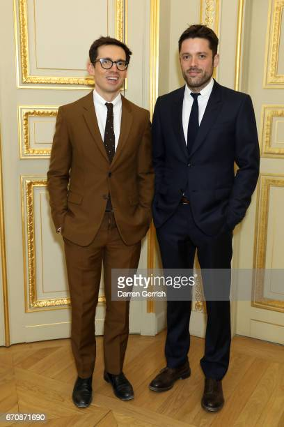 Erdem Moralioglu and Philip Joseph attend the MATCHESFASHIONCOM dinner #MFx30yearsandcounting at the Hotel de La Salle on April 19 2017 in Paris...