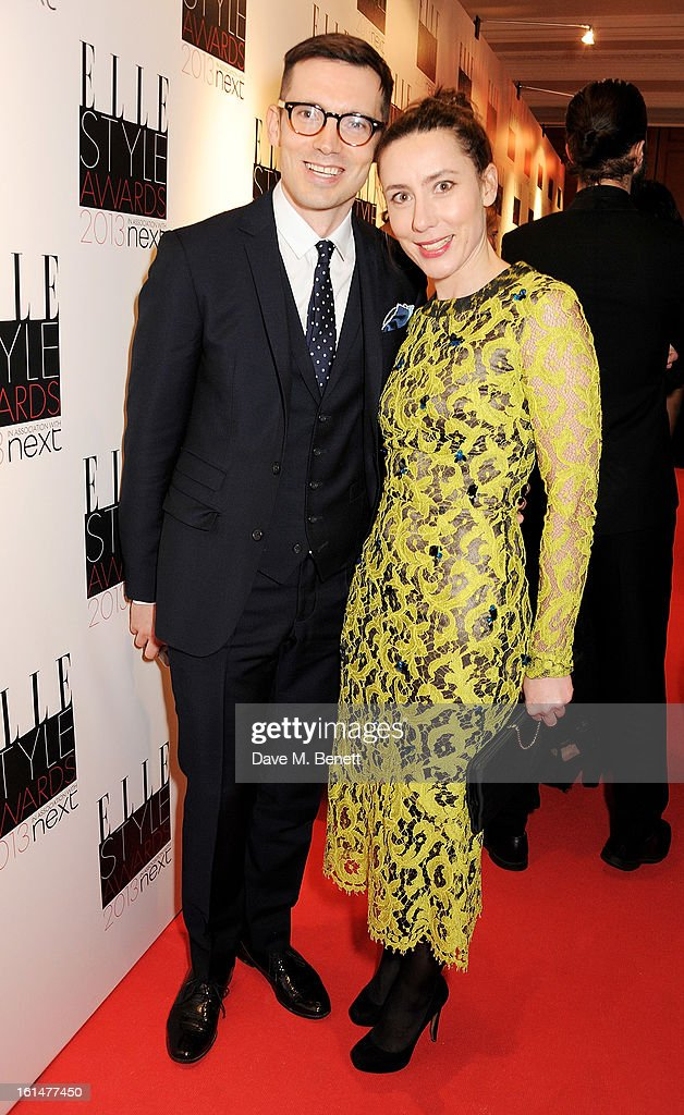 Erdem Moralioglu (L) and sister Sara arrive at the Elle Style Awards at The Savoy Hotel on February 11, 2013 in London, England.