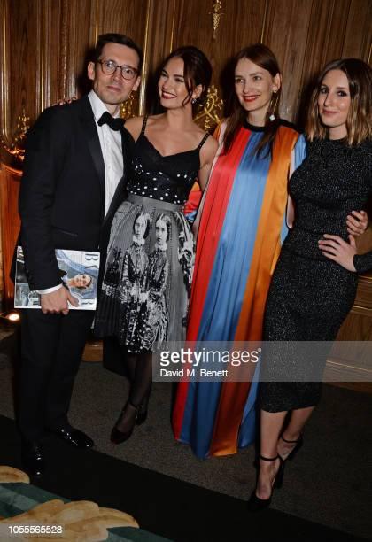 Erdem Moralioglu Lily James Roksanda Ilinicic and Laura Carmichael attend the Harper's Bazaar Women Of The Year Awards 2018 in partnership with...