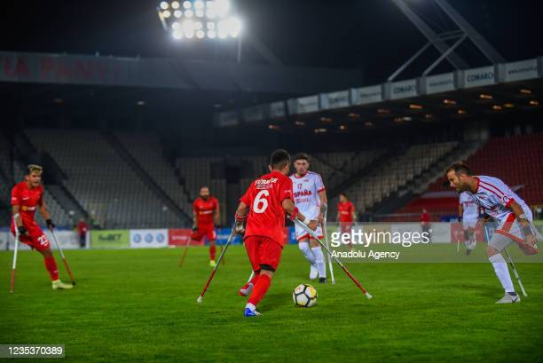 Erdinc Seyhmus of Turkey is seen in action against two of Spain during the finals of Amp Futbol EURO 2021 in Krakow, Poland on September 19, 2021.