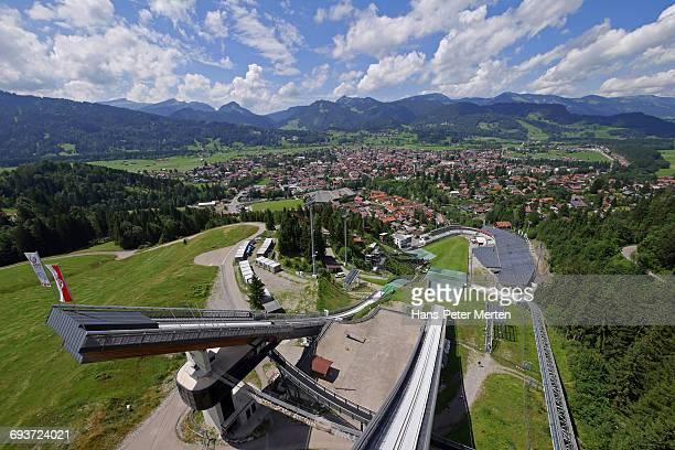 erding arena, oberstdorf, allgaeu, swabia, bavaria - oberstdorf stock pictures, royalty-free photos & images