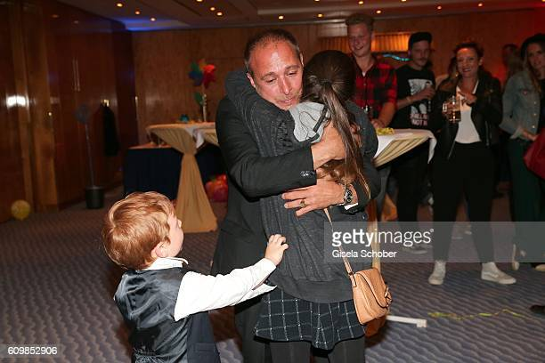 Erdogan Atalay and his daughter Pauletta Amira Pollmann and son Maris Atalay during the surprise party for Erdogan Atalay's 50th birthday at Hotel...