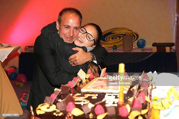 Erdogan Atalay and his daughter Pauletta Amira Pollmann during the surprise party for Erdogan Atalay's 50th birthday at Hotel Arkona on September 22...