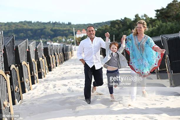 Erdogan Atalay celebrates his 50th birthday with his partner Katja Ohneck and his son Maris Atalay on September 22 2016 in Binz Germany