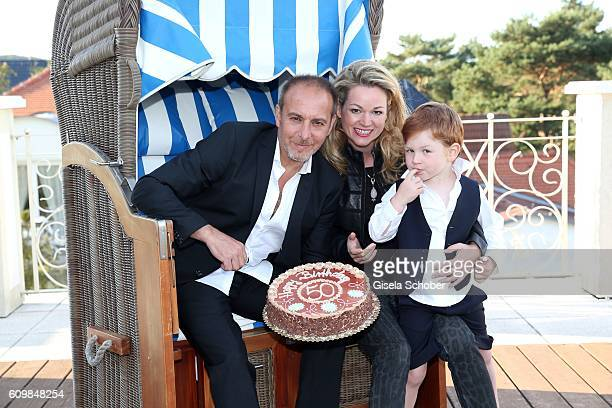 Erdogan Atalay celebrates his 50th birthday with his partner Katja Ohneck and his son Maris Atalay on September 22 2016 in Bergen Germany