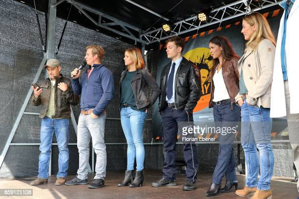 Erdogan Atalay Daniel Roesner Katrin Hess Lion Wasczyk Katja Woywood and Daniela Wutte attend the 'Alarm fuer Cobra 11' fan meeting on October 8 2017...