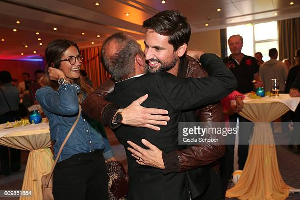 Erdogan Atalay Tom Beck and his girlfriend Chryssanthi Kavazi during the surprise party for Erdogan Atalay's 50th birthday at Hotel Arkona on...