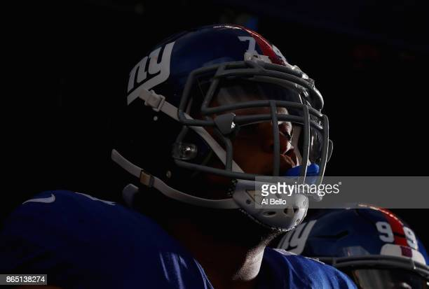 Ereck Flowers of the New York Giants waits to take the field before taking on the Seattle Seahawks at MetLife Stadium on October 22 2017 in East...