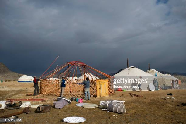 Erecting a Ger camp at BayanUlgii in preparation for the eagle hunters festival in September Mongolia