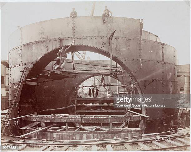 �Erection of Baisson no 4plug opening northside� one of a series of 50 photographs chronicling the tunnel�s construction The Rotherhithe Tunnel...