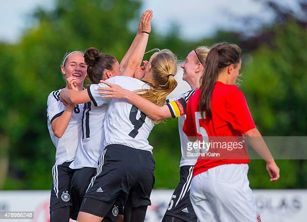 Ereleta Memeti of Germany who scores the 20 lead and her team mates celebrating during the Girl's Nordic Cup between U16 Germany and U16 Norway at...