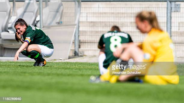 Ereleta Memeti of Wolfsburg is disappointed during the 2 Frauen Bundesliga match between 1 FFC Frankfurt II and VfL Wolfsburg II on May 19 2019 in...