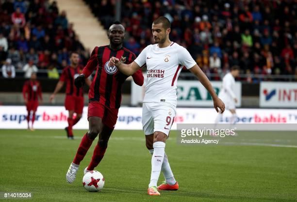 Eren Derdiyok of Galatasaray in action against Samuel Mensah Mensiro of Ostersund during the UEFA Europa League 2nd Qualifying Round soccer match...