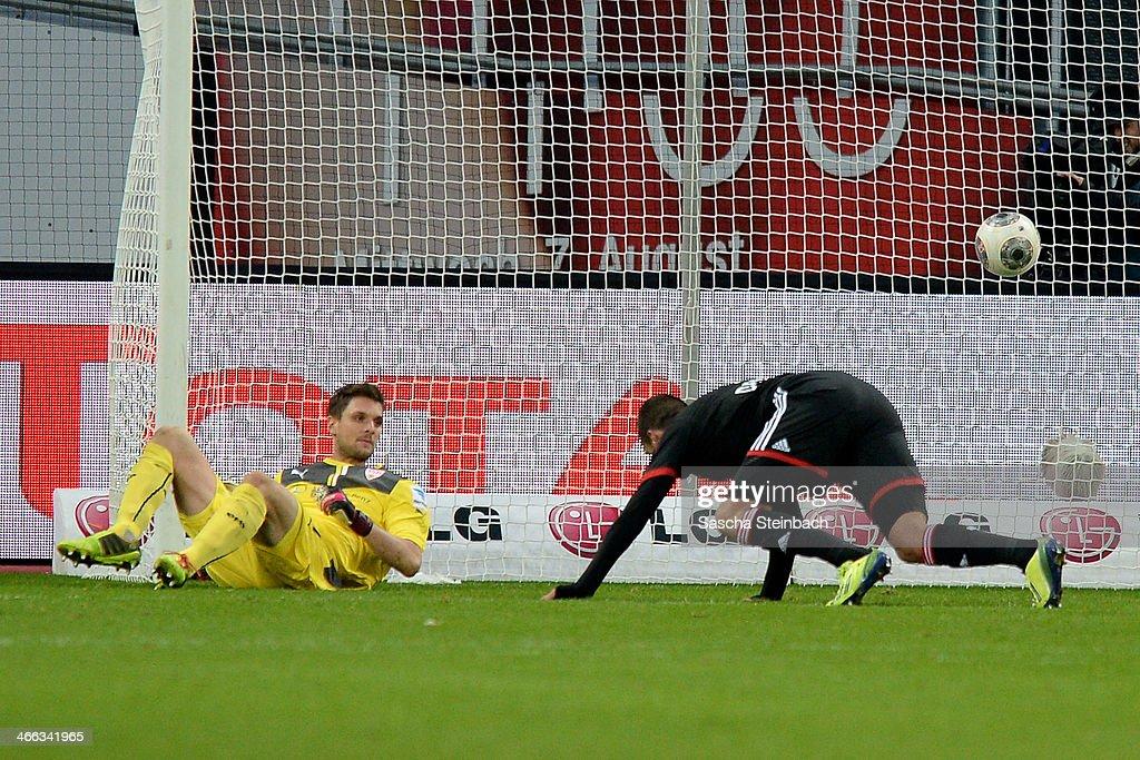 Eren Derdiyok of Leverkusen scores his team's second goal during the Bundesliga match between Bayer Leverkusen and VfB Stuttgart at BayArena on February 1, 2014 in Leverkusen, Germany.