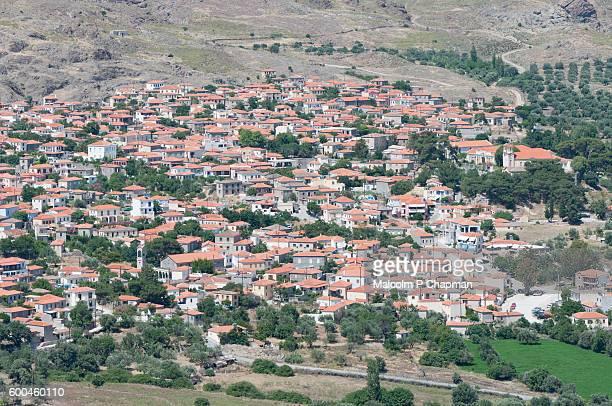 eresos (eressos), lesvos, greece. village view from hilltop chapel. - mytilene stock photos and pictures