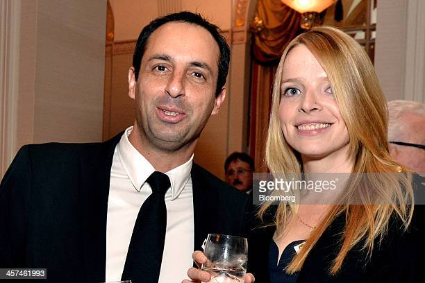 Erez Raphael, chief executive officer of LabStyle Innovations Corp., left, and Sigal Gal, a guest, attend a gala for the Conference of Presidents of...