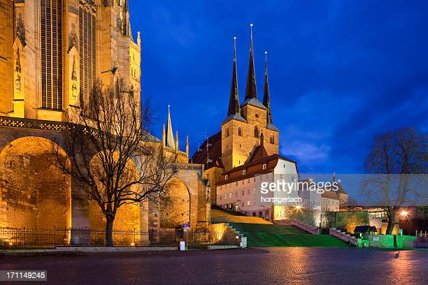 erfurt at night - erfurt stock pictures, royalty-free photos & images