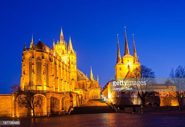 erfurt cathedral and domplatz - erfurt stock pictures, royalty-free photos & images
