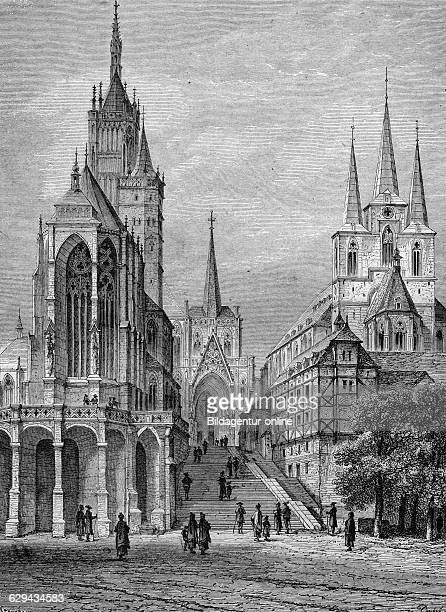 Erfurt cathedral germany historic illustration 1877