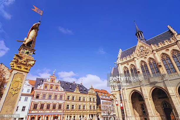 erfurt fischmarkt (fish market) and rathaus (town hall) - erfurt stock pictures, royalty-free photos & images