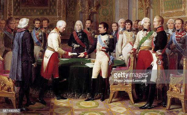 Erfurt meeting from 27 September to 14 October 1808 Napoleon I receiving Baron Vincent an Austrian ambassador of Emperor of Austria In the middle...