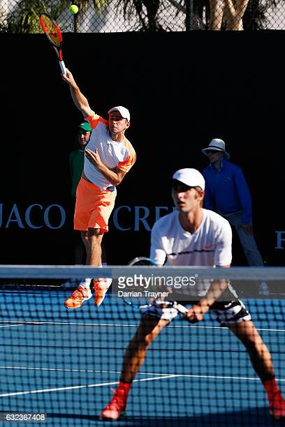Ergi Kirkin of Turkey and Corentin Moutet of France competes against Finn Reynolds of New Zealand and Duarte Vale of Portugal during the Australian...