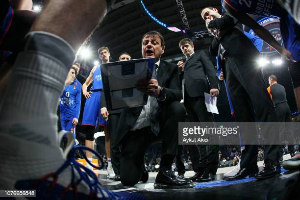 Ergin Ataman Head Coach of Anadolu Efes Istanbul in action during the 2018/2019 Turkish Airlines EuroLeague Regular Season Round 16 game between...