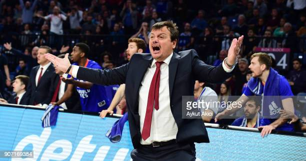 Ergin Ataman Head Coach of Anadolu Efes Istanbul in action during the 2017/2018 Turkish Airlines EuroLeague Regular Season Round 19 game between...