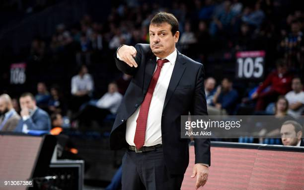 Ergin Ataman Head Coach of Anadolu Efes Istanbul in action during the 2017/2018 Turkish Airlines EuroLeague Regular Season Round 21 game between...