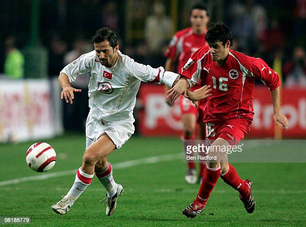 Ergun Penbe of Turkey and Tranquillo Barnetta of Switzerland during the FIFA World Cup Playoff, 2nd Leg match between Turkey and Switzerland at The...