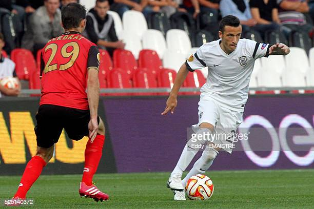 Ergys Kace in action against Christophe Kerbra during the UEFA Europa League soccer match EA Guingamp vs PAOK Thessaloniki at Roudourou stadium in...