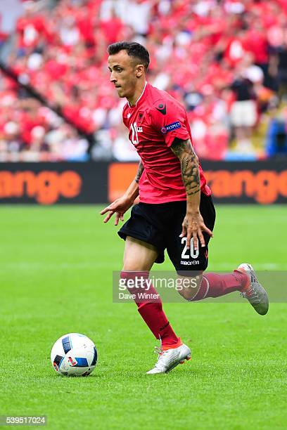 Ergys Kace of Albania during Group-A preliminary round between Albania and Switzerland at Stade Bollaert-Delelis on June 11, 2016 in Lens, France.