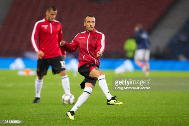 Ergys Kace of Albania during the pre-match warm-up during the UEFA Nations League C group one match between Scotland and Albania at Hampden Park on...