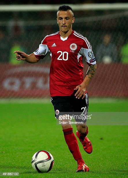 Ergys Kace of Albania in action during the Euro 2016 qualifying football match between Albania and Serbia at the Elbasan Arena in Elbasan on October...