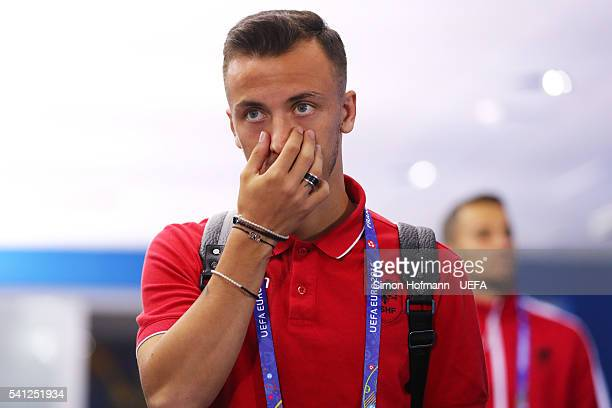 Ergys Kace of Albania is seen on arrival at the stadium prior to the UEFA EURO 2016 Group A match between Romania and Albania at Stade des Lumieres...