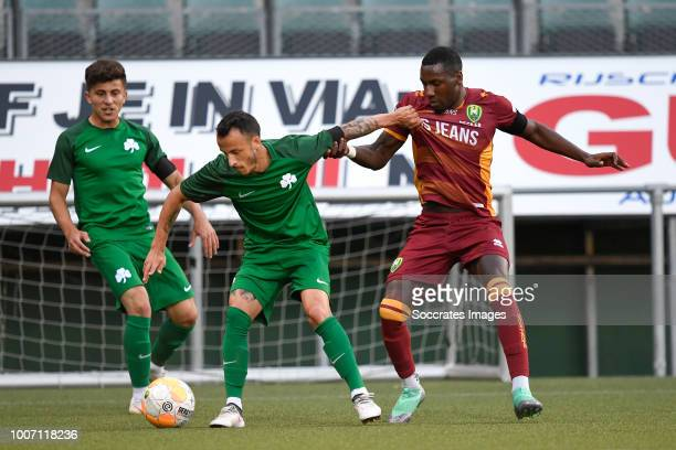 Ergys Kace of Panathinaikos, Sheraldo Becker of ADO Den Haag during the Club Friendly match between ADO Den Haag v Panathinaikos at the Cars Jeans...