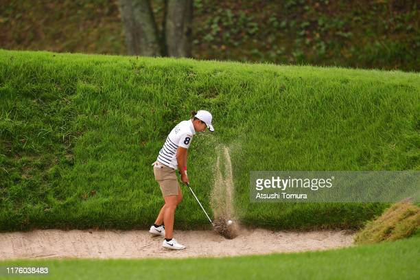 Eri Fukuyama of Japan hits out from a bunker on the 3rd hole during the second round of the Descente Ladies Tokai Classic at Shin Minami Aichi...