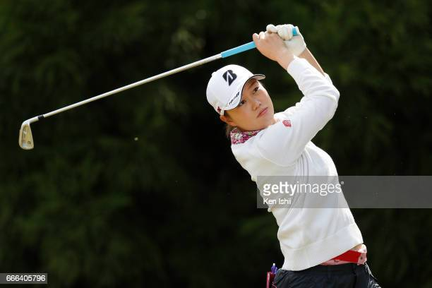 Eri Fukuyama plays her tee shot on the second hole during the final round of the Hanasaka Ladies Yanmar Golf Tournament at the Biwako Country Club on...