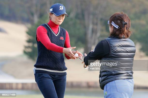 Eri Fukuyama shakes hands after winning playoff against Kurumi Dohi during the final round of the Rashink Nijinia/RKB Ladies at the Queens Hill Golf...