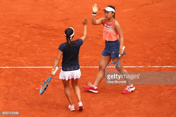 Eri Hozumi and Makoto Ninomiya of Japan celebrate during the ladies doubles final against Barbora Krejcikova and Katerina Siniakova of the Czech...