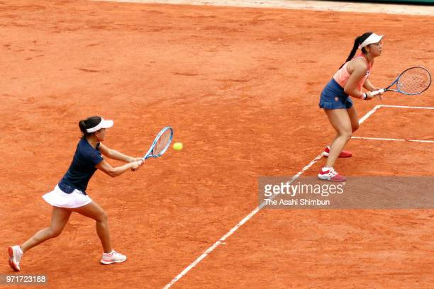Eri Hozumi and Makoto Ninomiya of Japan compete in the ladies doubles final against Barbora Krejcikova and Katerina Siniakova of the Czech Republic...