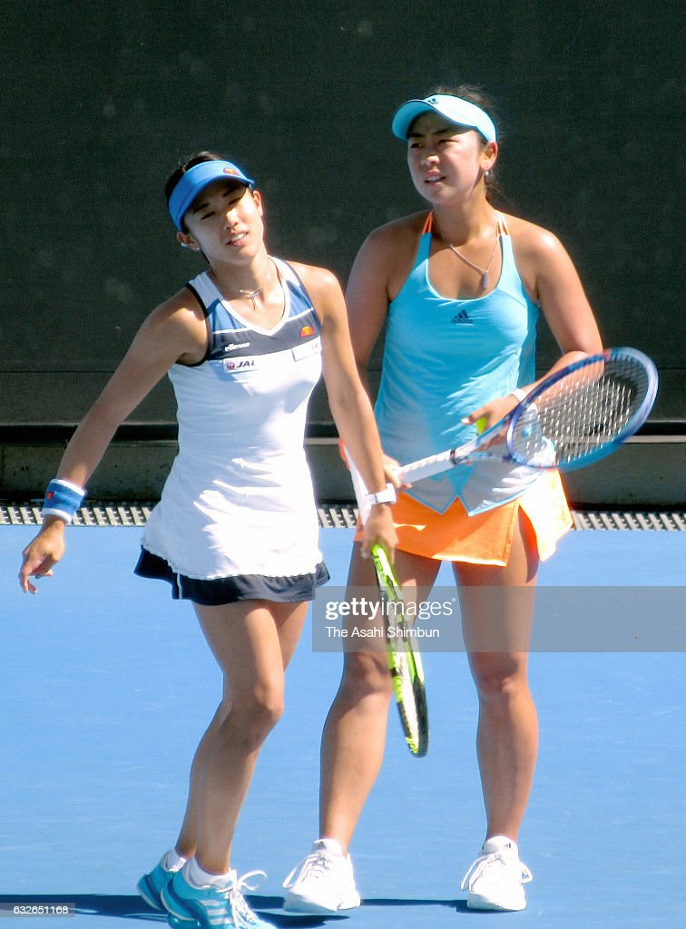 Eri Hozumi and Miyu Kato of Japan compete in their quarterfinal match against Bethanie Mattek-Sands of the United States and Lucie Safarova of the Czech Republic on day 10 of the 2017 Australian Open at Melbourne Park on January 25, 2017 in Melbourne, Australia.