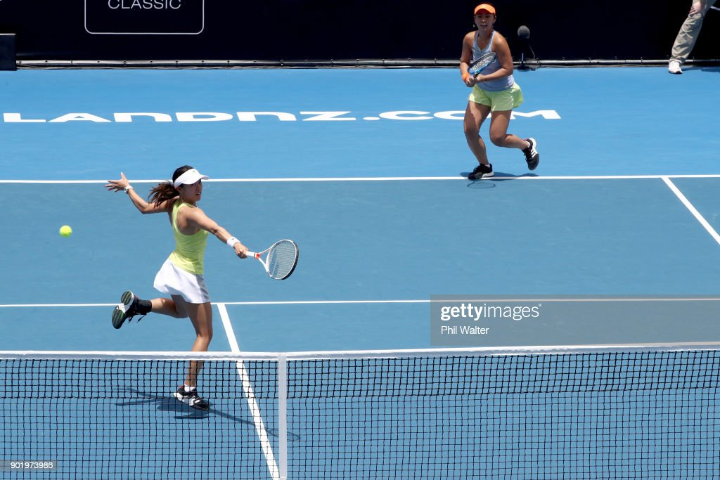 Eri Hozumi and Miyu Kato of Japan in action against Sara Errani of Italy and Bibiane Schoofs of Netherlands in the Womens Doubles Final on day seven of the ASB Women's Classic at ASB Tennis Centre on January 7, 2018 in Auckland, New Zealand.