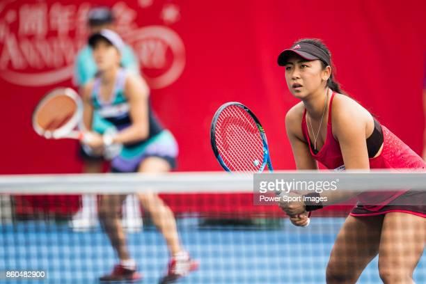 Eri Hozumi and Miyu Kato of Japan in action during the Prudential Hong Kong Tennis Open 2017 match between Katherine IP and Ling Zhang of Hong Kong...