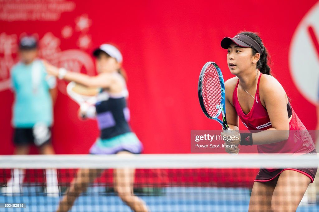 Eri Hozumi (R) and Miyu Kato of Japan (L) in action during the Prudential Hong Kong Tennis Open 2017 match between Katherine IP and Ling Zhang of Hong Kong at Victoria Park on October 12, 2017 in Hong Kong, Hong Kong.