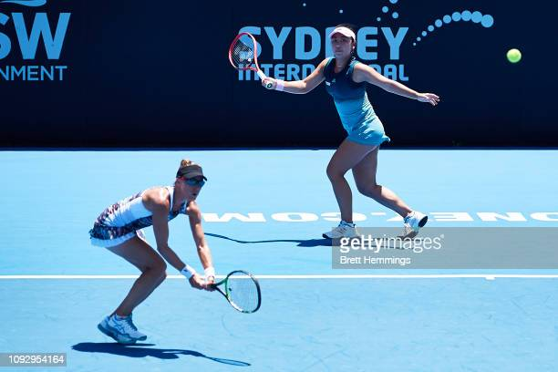 Eri Hozumi of Japan and Alicja Rosolska of Poland compete in the Womens Doubles Final during day seven of the 2019 Sydney International at Sydney...