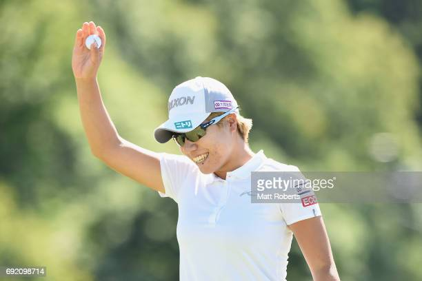 Eri Okayama of Japan celebrates on the 18th green during the final round of the Yonex Ladies Golf Tournament 2016 at the Yonex Country Club on June 4...