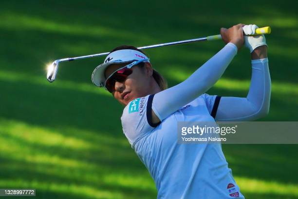 Eri Okayama of Japan hits her second shot on the 17th hole during first round of the GMO Internet Ladies Samantha Thavasa Global Cup at Eagle Point...