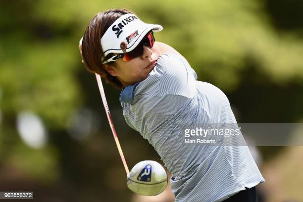 Eri Okayama of Japan hits her tee shot on the 2nd hole during the final round of the Resorttust Ladies at Kansai Golf Club on May 27 2018 in Miki...