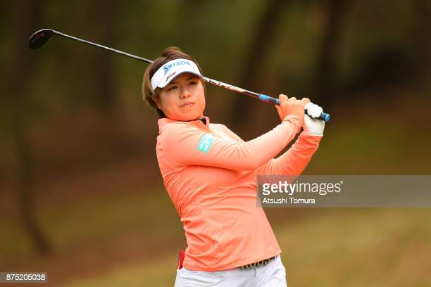 Eri Okayama of Japan hits her tee shot on the 6th hole during the second round of the Daio Paper Elleair Ladies Open 2017 at the Elleair Golf Club on...